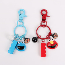 New 2019 High Quality Cute Anime Sesame Street Plush Key Ring Cartoon Elmo Cookie Monster Retractable Chain