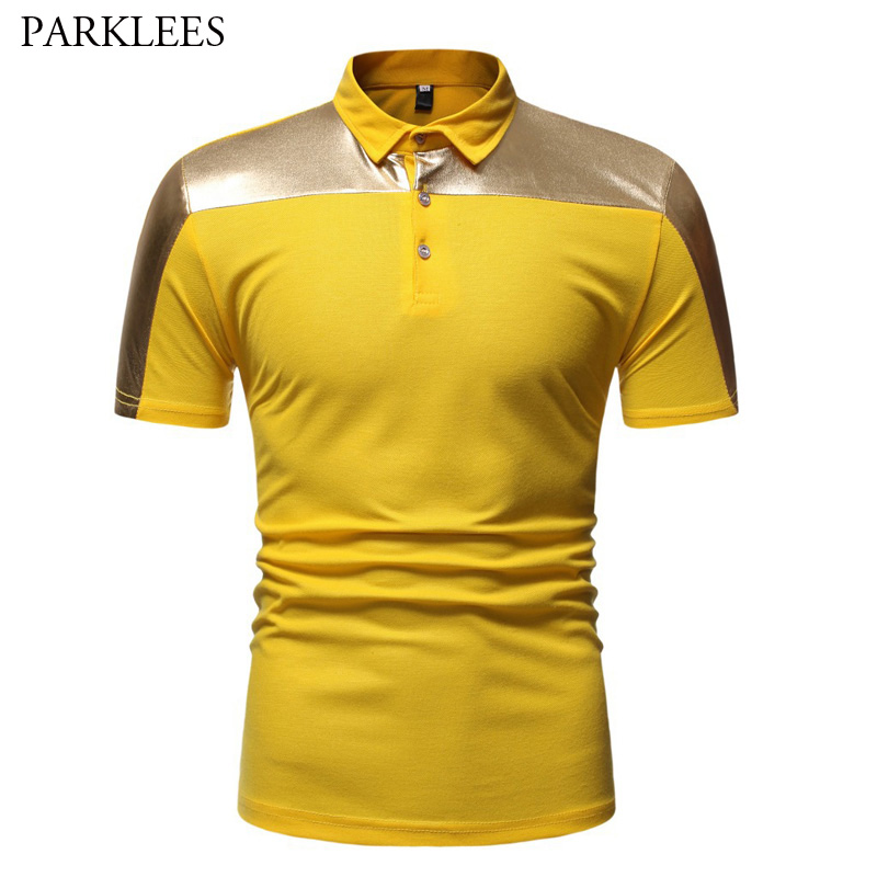Gold Bronzing Patchwork   Polo   Shirt Men Party Nightclub DJ   Polo   Shirt Men Slim Fit Short Sleeve   Polos   Male Camisa   Polo   Masculina