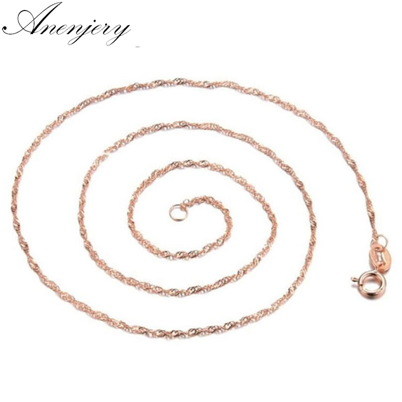 Anenjery 925 Sterling Silver Water-wave Chain Necklace Rose Gold Color Women Jewelry kolye collares S-N14 (Diameter 1.8mm)