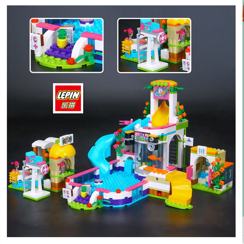 IN STOCK LEPIN 01013 589 pcs Girls Series The Heartlake Summer Pool Set model  Building Kit Blocks Bricks Compatible 41313 waz compatible legoe friends 41313 lepin 01013 589pcs building blocks the heartlake summer pool bricks figure toys for children
