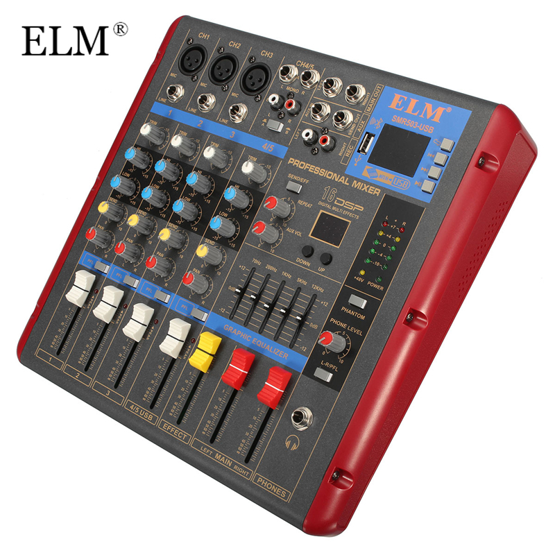 ELM 4 Channel Digital Sound Mixer With USB Bluetooth 48V Power Mixing Console LCD Display Digital Effects For Audio DJ Karaoke mini portable audio mixer with usb dj sound mixing console mp3 jack 4 channel karaoke 48v amplifier for karaoke ktv match party