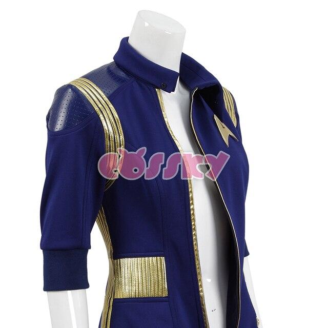 Star Trek Discovery Commander Jumpsuit Uniform Cosplay Costume Blue Women Jumpsuit Halloween Costume without Badge 3