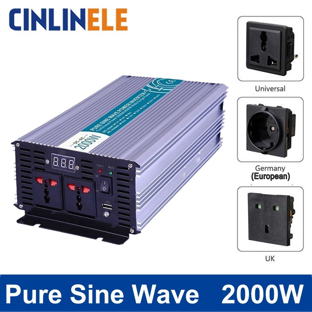 Smart Pure Sine Wave Inverter 2000W CLP2000A DC 12V 24V 48V to AC 110V 220V Smart Series Solar Power 2000W Surge Power 4000W