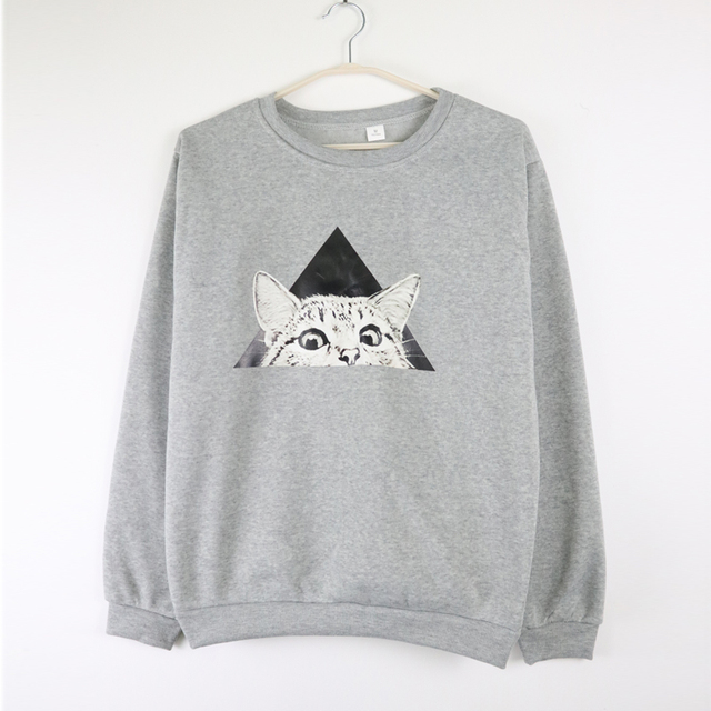Glancing Kitten Themed Sweatshirt for Women
