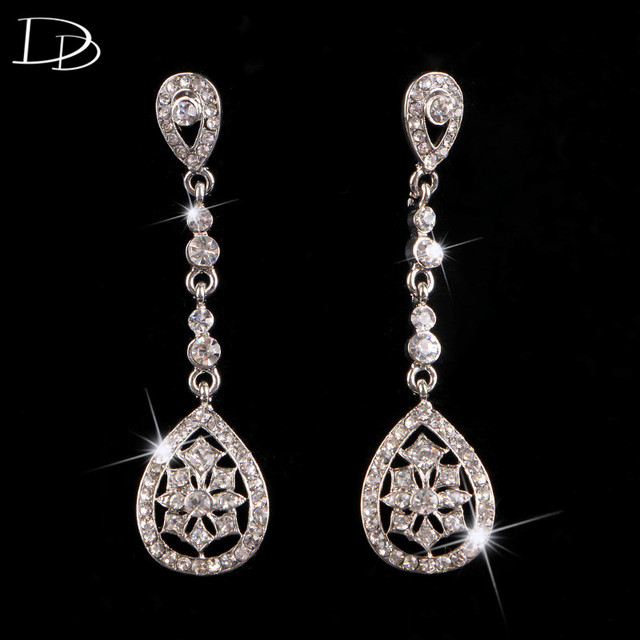 long earrings for women 585 gold plated chain shine CZ diamond drop earrings  elegant bridal jewelry wedding party gifts HB026 8d7ec8df934c