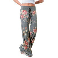 Fashion 2017 Women Loose Wide Leg Long Pant Floral Print Casual High Waist Palazzo Leggings Trouser