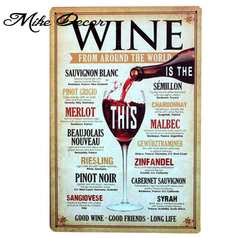 [ Mike86 ] Wine From aroud the world Metal Poster Tin Sign Wall decor Bar Retro Painting A-379 Mix order 20*30 CM Free shipping