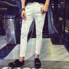 Fashion 2017 Indoor Summer Casual Hip Hop cowboy pants Teenagers man young white Ripped hole foot Skinny jeans Men Pencil Pants