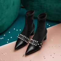 Pointed Toe Woman Boots Pearl Decor Ankle Boots Short Booties Solid Woman Shoes High Heel Sock Boots Buckle Embellished Shoes