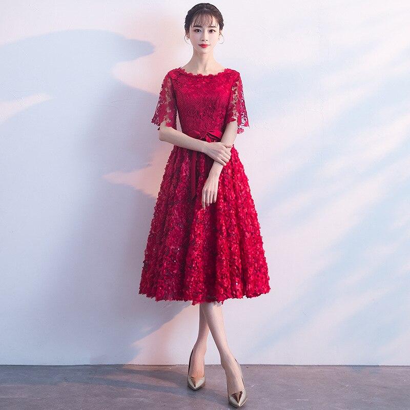 Vestido de fiesta de boda rojo oscuro con cuello redondo Cheongsam Oriental elegante encaje Qipao vestidos largos Vestido Retro XS XXXL-in Vestidos from Ropa de mujer    1