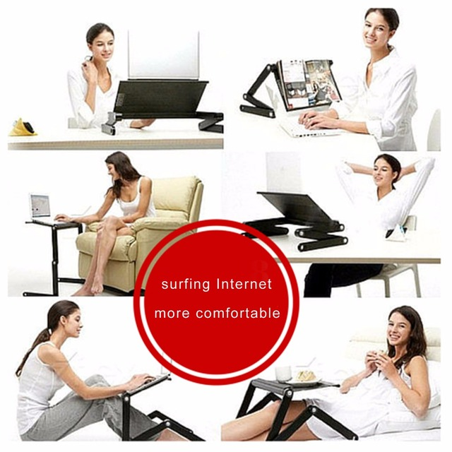 Computer Desk Portable Adjustable Foldable Folding Table for Laptop Notebook PC Vented Stand Bed Tray