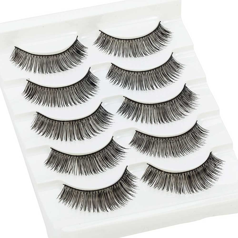 TOMTOSH 5 pairs / 10PC Thick False Eyelashes Naturally Thin Crosses Thick Eyelashes Sexy Stage Makeup Tools