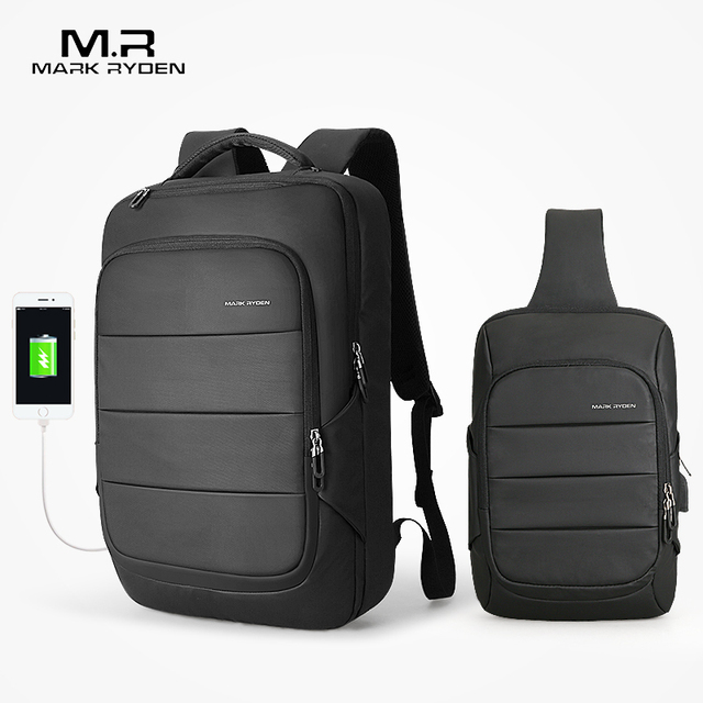 Mark Ryden Man Backpack Chest Bag Waterproof USB Recharging Backpacks Fit 15.6 inches Laptop Fit 11inch iPad  Sling Chest Bag