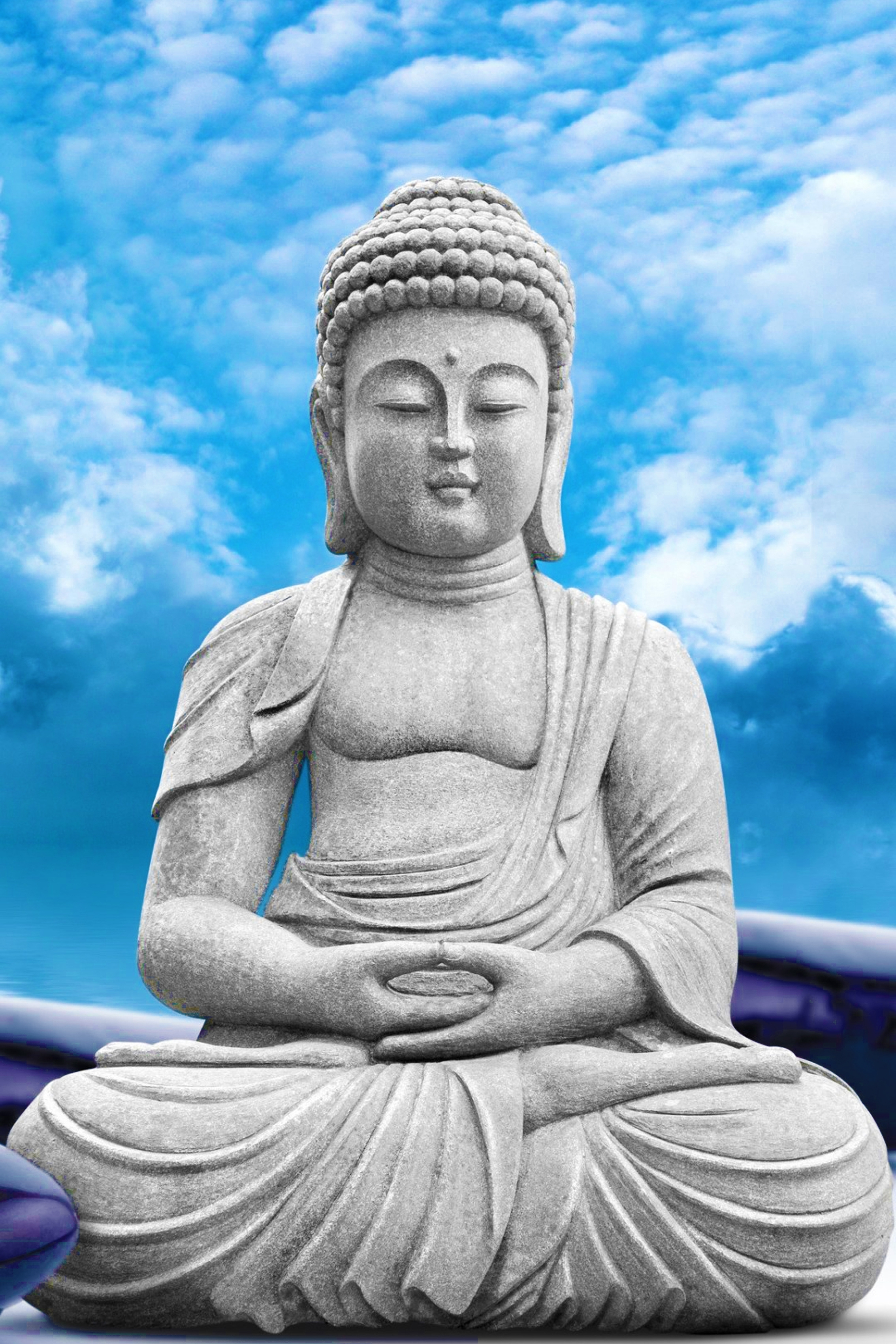 home decoration lord buddha statue sky clouds silk fabric poster