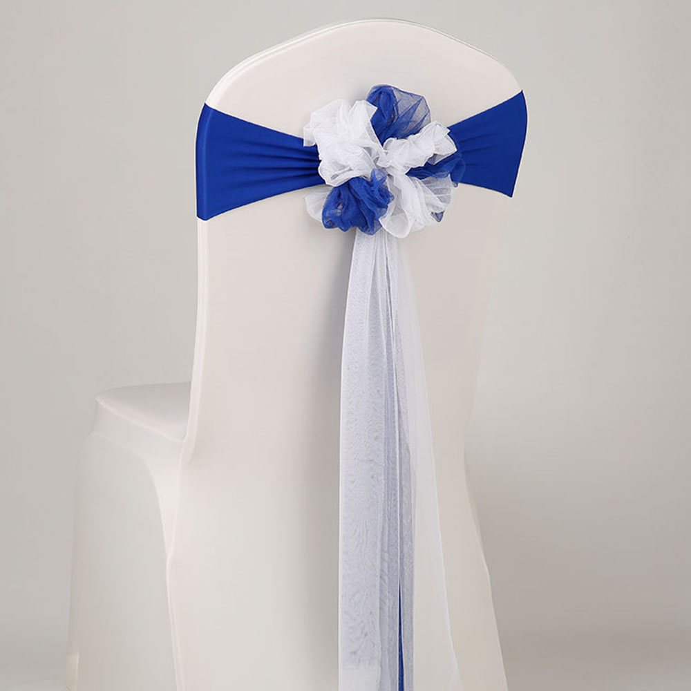 25pcs lot Europe Wedding Decoration White Royal Blue Muslin Chair Sashes Stretch Lycra Chair Band For