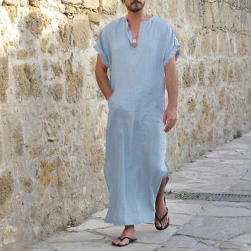 V ネック半袖ルーズ男性のローブイスラム教徒のアラブカフタンプラスサイズ男性ナイトガウン 2019 固体カジュアル夏男性ローブ