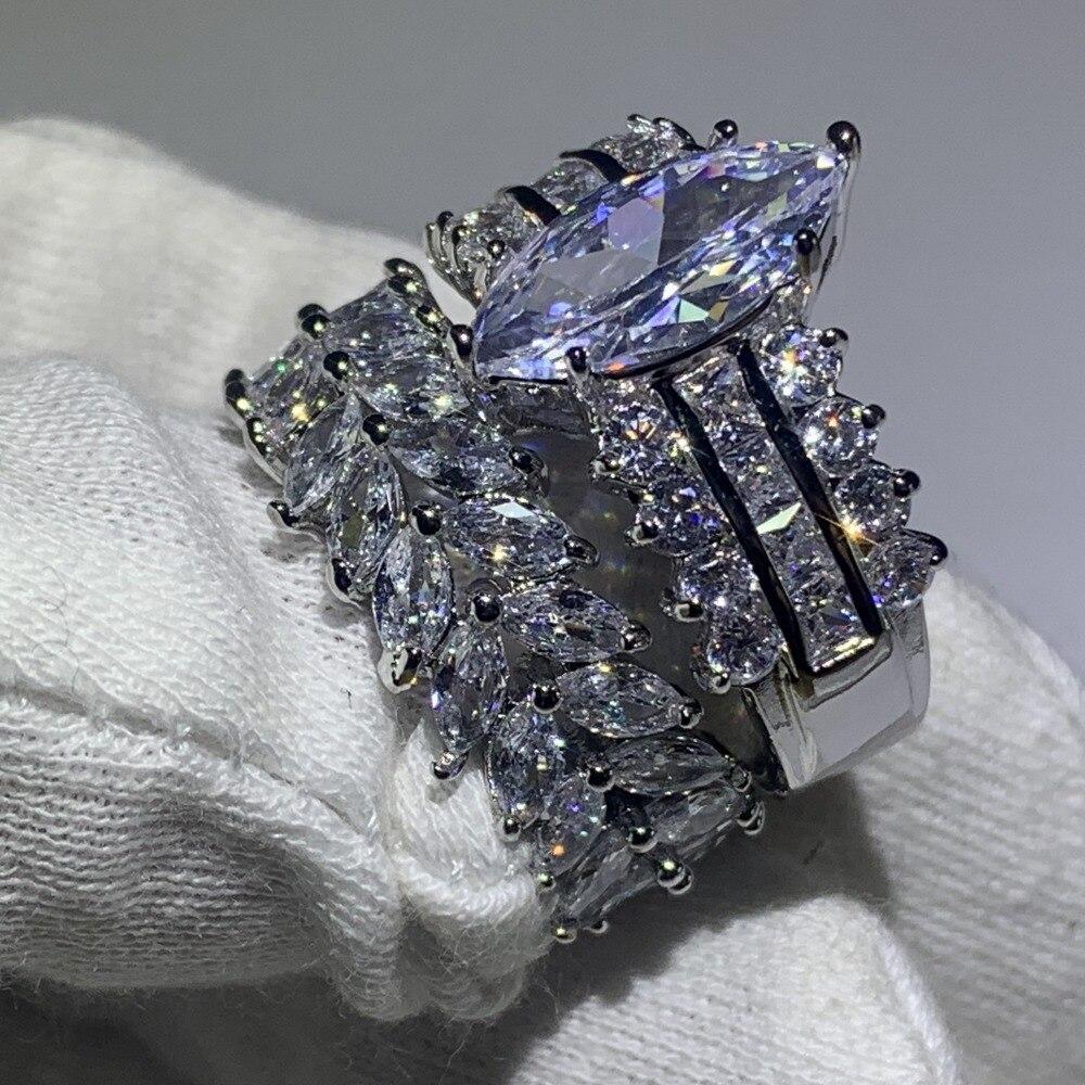 Image 2 - 90% オフスーパーディール見事な高級ジュエリー 925 スターリングシルバーマーキス 5A CZ ジルコニアドロップ配送結婚式ブライダルリングセット婚約指輪   -