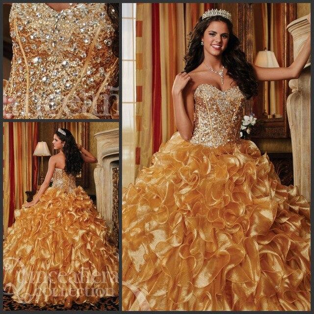 Gold Rhinestone Dresses