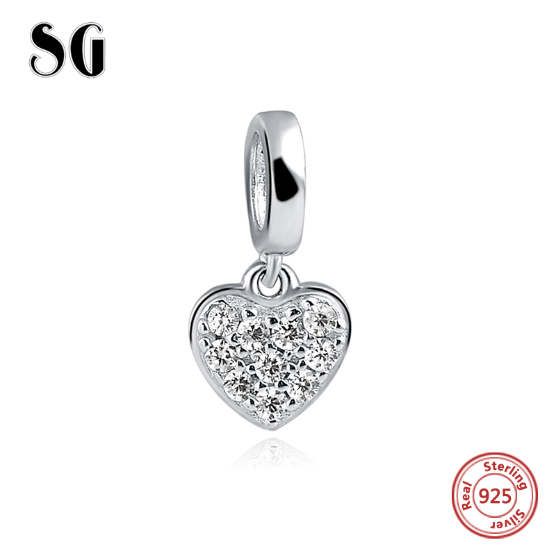 SG 2018 New Original 925 sterling silver Charm Love Heart cz Beads Fit pandora Charms Bracelet jewelry Valentines Day For Gift