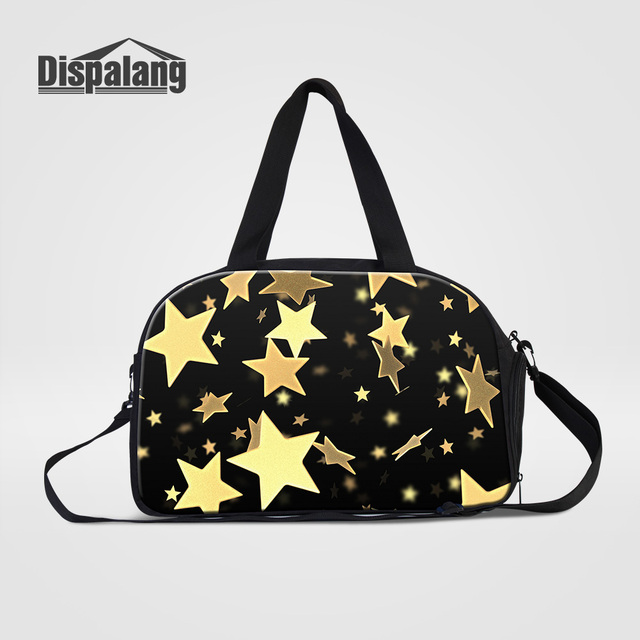 bbf1a7bbb61c Dispalang Women Fashion Traveling Shoulder Bags Gold Stars Printing Hand  Luggage Duffle Bag With Shoes Pocket Clothes Organizer