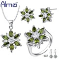 Almei Rhinestone Wedding Jewelry Sets Women Bridal 925 Sterling Silver Crystal Earring Necklace Pendant Ring Party Set T508