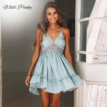 WildPinky Women Dresses New 2019 Summer Lace Sexy Club Spaghetti Strap Backless Party Dress Elegant Bohemian Beach Sundress