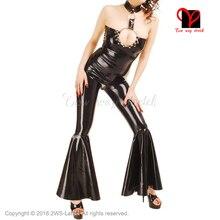 Sexy Black Latex bell bottom Jumpsuit Fetish Bondage Rubber Catsuit Gummi Jump cat suit Body stockings leg overall Jumper Flared