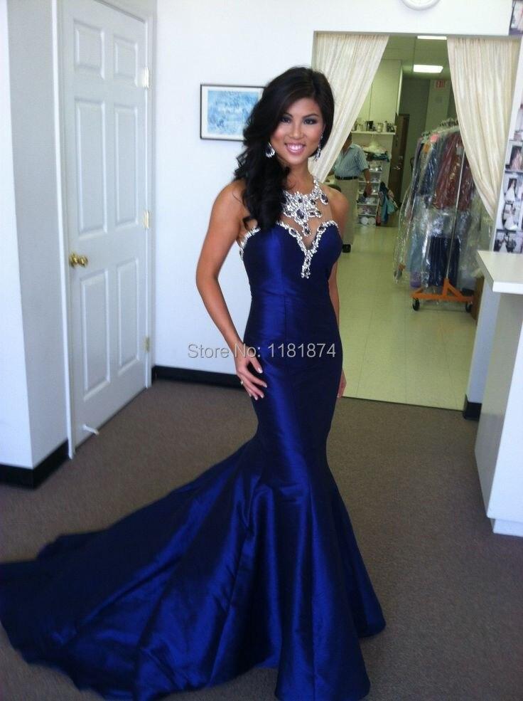 Aliexpress.com : Buy 2015 Perfect Royal Blue Mermaid Taffeta Prom ...