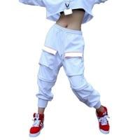 #0116 Sweatwear Dance Hip Hop Pants Women White Harem Trousers Female Full Length Casual Hip hop Track Pants Ladies Big Pockets