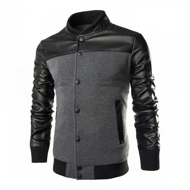 Sweatshirts Fashion Design PU Leather Patchwork Jacket Men Single Breasted Casual Stand Collar Jacket Coat Plus Size M-XXXL