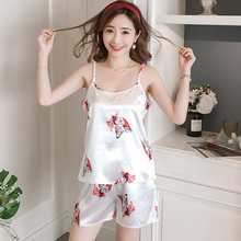 e50c761115e puls size 3XL 4XL 5XL women pajama set Summer Shortless Sleeve Pyjamas Sexy  Print Ice Silk