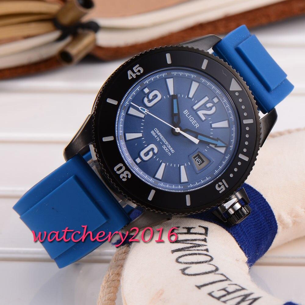 Здесь продается  43mm Bliger blue dial black PVD case date adjust display miyota Automatic Self-Wind movement Men