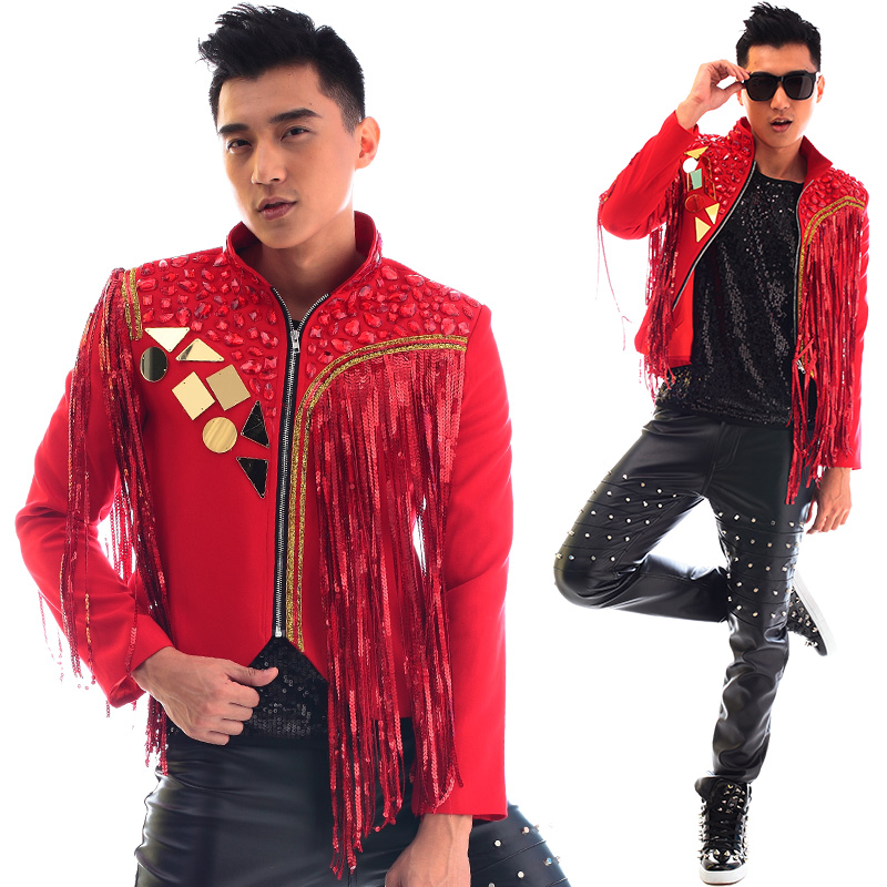 Red stand collar men suits designs tassels stage costumes for singers men sequin blazer dance clothes jacket dress punk