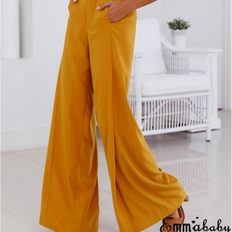 Fashion Women Palazzo   Pants   2018 Women Casual   Pants   Yellow White High Waist   Wide     Leg     Pants