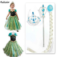 Princess Girl Dress Snow Queen Cosplay Dress Costume Children Baby Kids Dresses Fantasia Infantis Vestido Menina