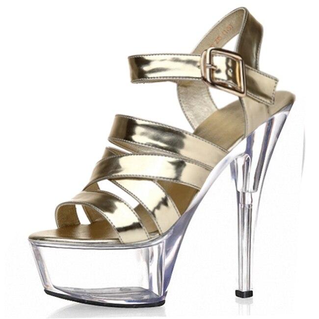 Sexy buckle handsome 15 cm super high heels with stage 1 fine fashion runway shoes, sandals taste fine 15 cm high heels with stage shows sexy female wang yanwu nightclub sandals