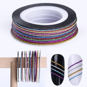 Image 1 - 13 Rolls Matte Glitter Nagel Striping klebeband linie Multi farbe Striping Klebstoff Aufkleber Nail art Dekoration DIY Tipps