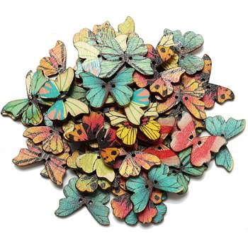 LHBL 50pcs Colorful 2 Holes Mixed Butterfly Wooden Button Sewing DIY Craft Scrapbooking Buttons