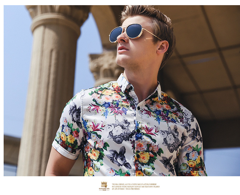 FANZHUAN Free shipping new 2019 summer men's fashion non-iron short-sleeved shirt Slim comfortable casual flower print 922026