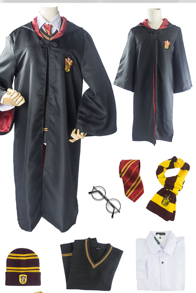 Cosplay Costumes Harri Potter gryffondor Cape cravate écharpe baguette lunettes Ravenclaw gryffondor cosplay Cape Cosplay Costumes