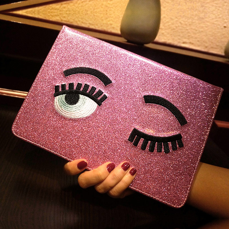 Alabasta Cute Blinking Wink Glitter Eyes PU Leather Case Stand Cover For Apple iPad mini 1/2/3 & For ipad 2/3/4 Case+Xmas Gift alabasta painting pu leather stand case
