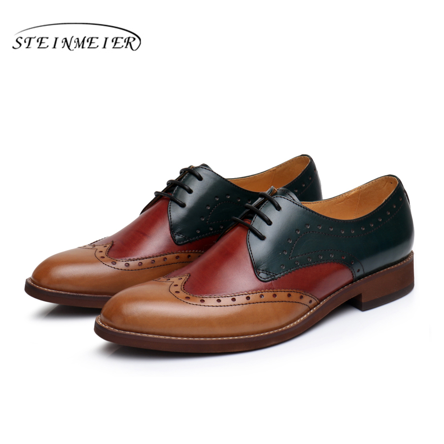 Genuine leather brogues yinzo mens flats shoes vintage handmade sneaker red brown oxford shoes for men 2018 spring women natrual leather yinzo brogues flat oxford shoes woman vintage handmade sneaker oxford shoes for women 2018 red brown pink