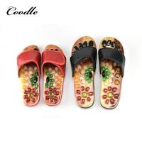 2018 cobblestone Summer Men Natural Massage Slippers Reflexology Shoes Foot Massager Slipper Health Care Acupuncture Slippers