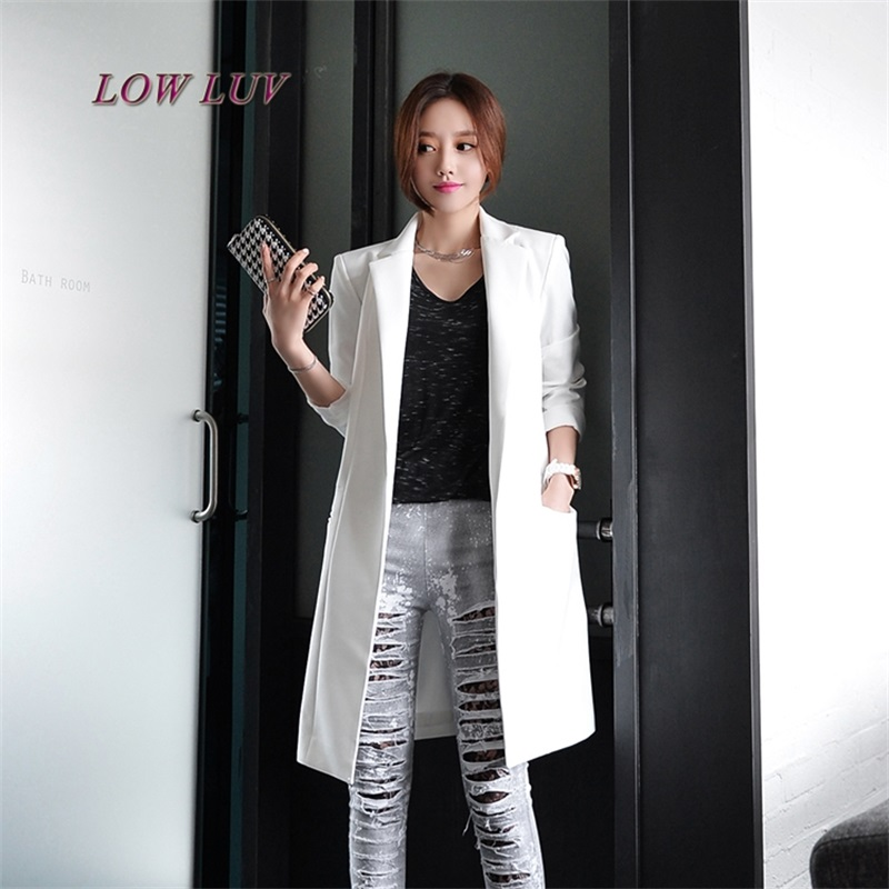 2017 spring and summer new black suit female mid-length Korean women's suits small suit long sleeve white jacket female
