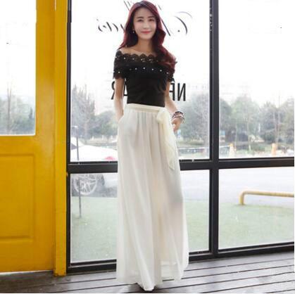 2018 new Summer  Fashion casual Elastic waist Bohemia chiffon wide leg female women girls pants trousers clothes