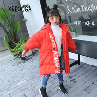 New Winter Clothes Girls Boys Korean Fashion Parkas Casual Letter Coat For Kids Thick Children Long Hooded Zipper Jackets DN02