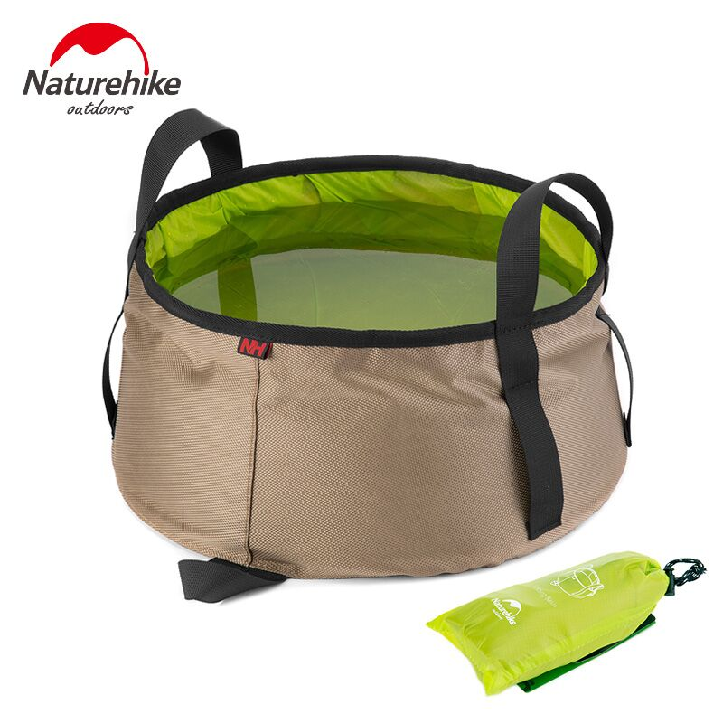 NatureHike 10L Ultralight Outdoor Nylon Folding Water Washbasin Portable Wash Bag Foot Bath Camping Equipment outdoor tools naturehike outdoor camping collapsible folding water carrier container white 10l