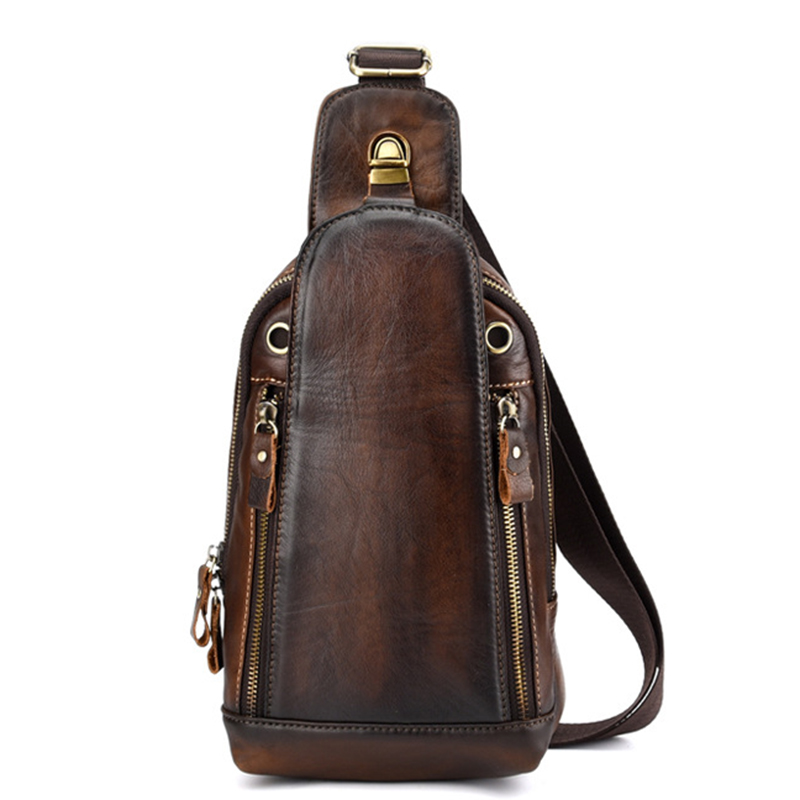 High Quality Men Genuine Leather Single Backpack Rucksack Vintage Real Cowhide Brush Color Shoulder Bag Crossbody Chest Bags