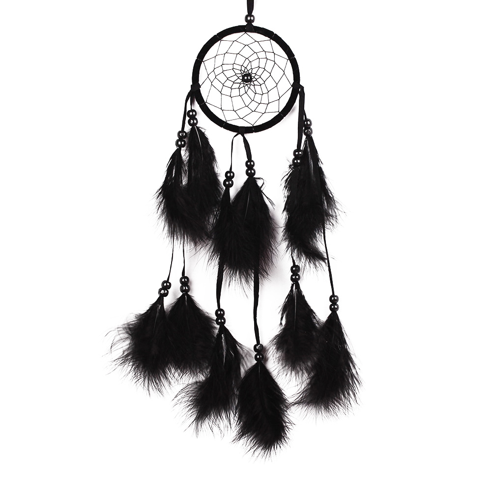 Black 1pcs Flower Pattern Dream Catcher Net With Beads Feathers Wind ...