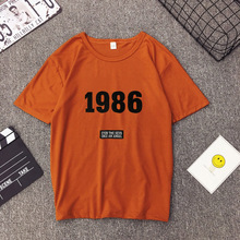 Woman T-shirt Fashionable Numbers Letters Printing Short Sleeve O-Neck Female Casual Loose Tops for Women 2019 New Style